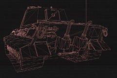 holograma Wireframe do tanque 3D no movimento Rendição 3D agradável Imagem de Stock