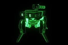 holograma Wireframe do tanque do robô 3D no movimento Rendição 3D agradável Fotos de Stock Royalty Free
