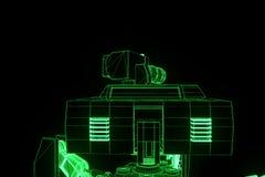 holograma Wireframe do tanque do robô 3D no movimento Rendição 3D agradável Imagens de Stock Royalty Free