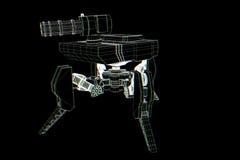 holograma Wireframe do tanque do robô 3D no movimento Rendição 3D agradável Imagem de Stock