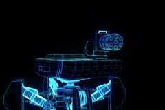 holograma Wireframe do tanque do robô 3D no movimento Rendição 3D agradável Imagens de Stock