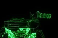 holograma Wireframe do tanque do robô 3D no movimento Rendição 3D agradável Fotografia de Stock