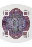 Hundra euro noterar hologramen Royaltyfri Bild