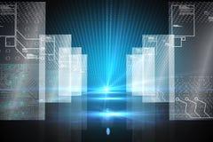 Hologramm auf futuristischem Hintergrund Stockbilder