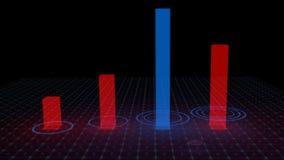 Hologramm, das Statistiken zeigt Stockfoto