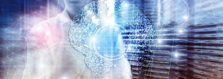 Hologramm der Erde 3D, Kugel, WWW, globales Geschäft und Telekommunikation lizenzfreie stockbilder