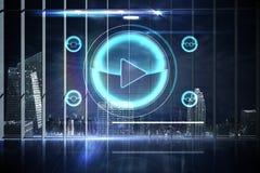 Hologrammanöverenhet i regeringsställning som förbiser staden Arkivfoto