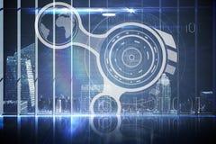 Hologrammanöverenhet i regeringsställning som förbiser staden Arkivfoton