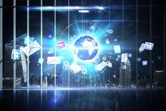 Hologrammanöverenhet i regeringsställning som förbiser staden Arkivbilder