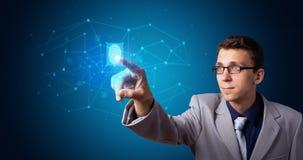 Hologramme de accès d'homme avec l'empreinte digitale photo stock