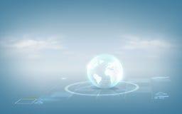 Hologramme de globe au-dessus de fond bleu Photographie stock libre de droits