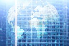 hologramme de la terre 3D sur le fond brouillé Concept d'affaires globales et de communication Images libres de droits