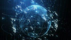 Hologramme de planète de la terre et grille de réseau avec la rotation sans couture de nombres dans des éléments de cyberespace A illustration de vecteur