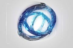 Hologramme fait de roue avec une interface futuriste de données - 3d ren Image stock