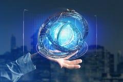Hologramme fait de roue avec une interface futuriste de données - 3d ren Photographie stock libre de droits