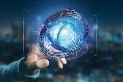 Hologramme fait de roue avec une interface futuriste de données - 3d ren Photo stock