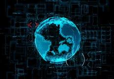 Hologramme futuriste de la terre de planète sur des données numériques de fond et les flux légers Image libre de droits