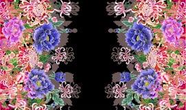 Hologramme, image tridimensionnelle des pivoines japonaises illustration stock