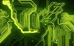 Hologramme vert de circuit électrique sur un fond noir - rendu 3D photos stock