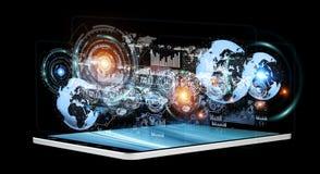 Hologrammes de Digital avec des diagrammes d'écrans au-dessus de rende du téléphone portable 3D Images stock