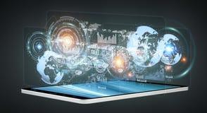 Hologrammes de Digital avec des diagrammes d'écrans au-dessus de rende du téléphone portable 3D Photo libre de droits