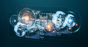 Hologrammes de Digital avec le renderin de diagrammes et de statistiques 3D d'écrans Image libre de droits