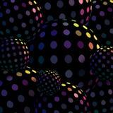 Hologrammet skimrar på svarta diskobollar 3d Idérika sfärer gör sammandrag mosaikbascground royaltyfri illustrationer