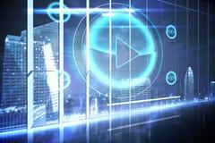Hologrammschnittstelle in Unterlassungsstadt des Büros Lizenzfreie Stockfotos