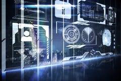 Hologrammschnittstelle in Unterlassungsstadt des Büros Lizenzfreie Stockbilder