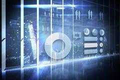 Hologrammschnittstelle in Unterlassungsstadt des Büros Lizenzfreies Stockfoto