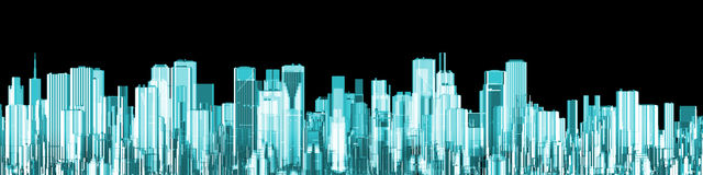 Hologrammstadtpanorama Stockfotografie