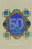Hologramskydd på sedel för euro 50 Royaltyfri Fotografi