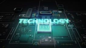 Hologramtypoen 'TEKNOLOGI' på CPU-chipströmkretsen, växer teknologi för konstgjord intelligens