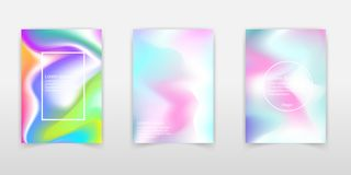 Holographic abstract background. Colorful holographic backdrop w. Ith gradient mesh. 90s, 80s retro style. Pearlescent graphic template for brochure, flyer royalty free illustration