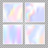 Holographic abstract backgrounds set. Gradient set with holographic mesh. Colorful abstract gradient set backdrops. 90s, 80s retro style. Pearlescent graphic stock illustration