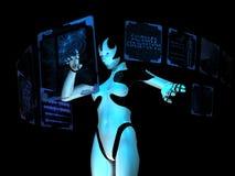 holographic använda för datorcyborg royaltyfri illustrationer