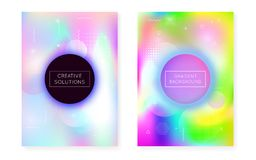 Holographic background with liquid shapes. Dynamic bauhaus gradient with memphis fluid cover. Graphic template for placard, presentation, banner, brochure vector illustration