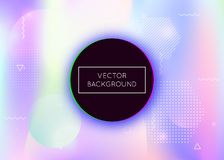Holographic background with liquid shapes. Dynamic bauhaus gradient with memphis fluid elements. Graphic template for brochure, banner, wallpaper, mobile royalty free illustration