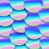 Holographic big sequined fabric textile, pink purple and violet lilac glistening sequins. Sequins texture.  Stock Photography