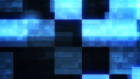 Holographic Big Squares Making Cross. A graphic 3d illustration of big bright blue and white squares and rectangles composing a sparkling cross in the black Stock Photo