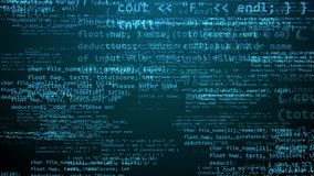 Holographic Coding Program With Formulas. A matrix style 3d illustration of a cutting edge crypto coding program with puzzling blue texts, formulas, digits Stock Photos