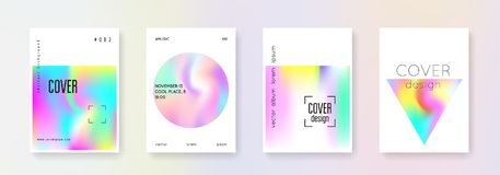 Holographic cover set. Abstract backgrounds. Retro holographic cover with gradient mesh. 90s, 80s retro style. Iridescent graphic template for brochure, banner Royalty Free Stock Photography