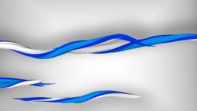 3D Wispy Strokes Curling in a Spiral Way. A holographic 3d illustration of coiling multicolored strokes in the grey background. They are of white, blue and Stock Image