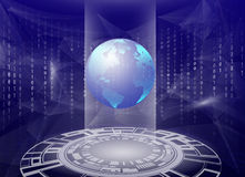 Holographic 3d planet earth against blue abstract background with circles, triangles and binary code stock illustration