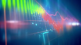 Fluctuating business line chart. Holographic 3d rendering of multicolored business line charts taken askew in the blue background with some signs and symbols put Royalty Free Stock Images