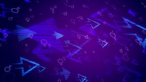 Abstract arrows, male, female, symbols. Holographic 3d rendering of various light blue arrows aimed at each other and spinning between them man and woman round Stock Image