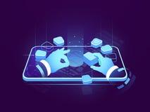 Holographic display isometric neon, digital futuristic technology, user interface development design, building mobile vector illustration