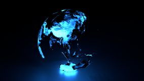 Holographic Earth Eastern Hemisphere. 3D holographic globe with blue hue featuring eastern hemisphere including asia australia royalty free illustration