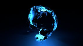 Holographic Earth Western Hemisphere. 3D holographic globe with blue hue featuring western hemisphere including north and south america vector illustration