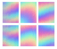 Holographic geometric background, vector set. 80s-90s fashion design. Hologram vibrant style. Trend art posters. Holography background for your text Royalty Free Stock Photo